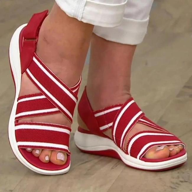 Women Casual Comfortable Elastic Band Magic Tape Beach Flat Sandals