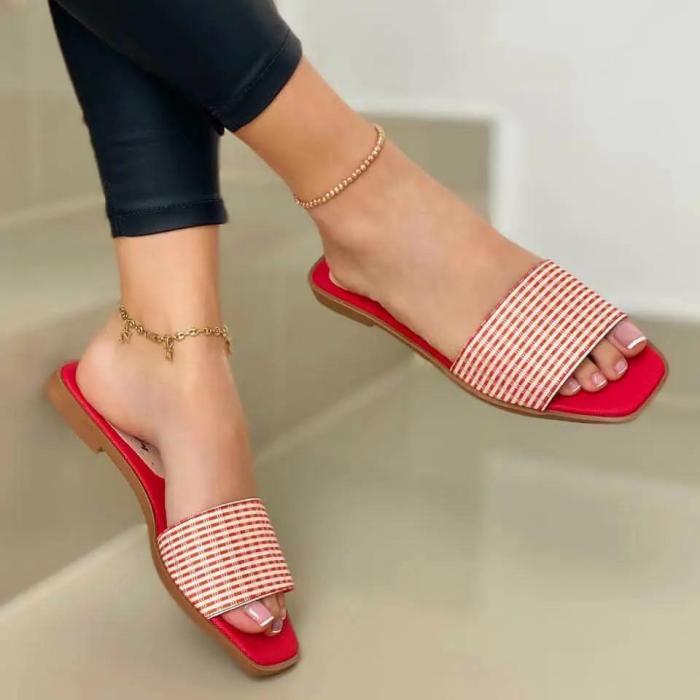 Women's Comfy Flat Plaid Slide Sandals