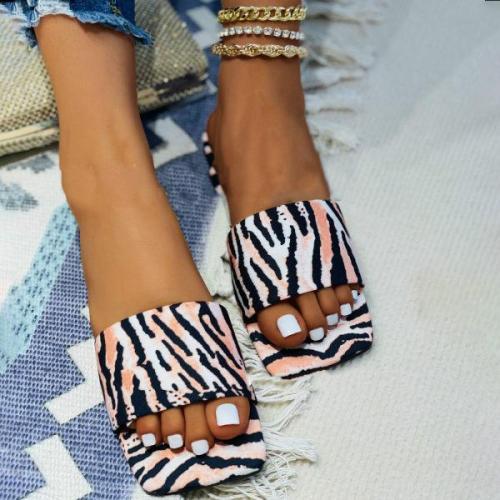 Womens Fashion Printed Flat Beach Slippers