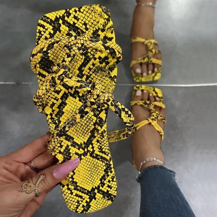 Women's Fashion Color Snake Print Flat Bottom Slippers