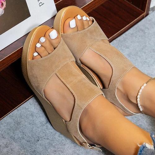 Women Casual Simple Shearling Hollow-out Adjusting Buckle Wedge Heel Sandals