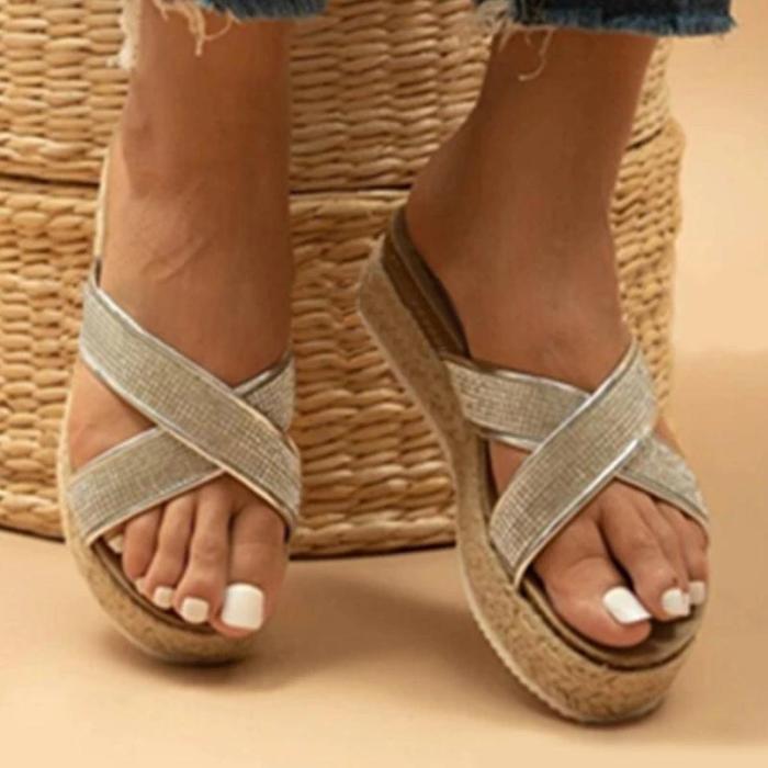 Women Casual Daily Pu Rhinestone Cross-strap Flat Sandals Slippers