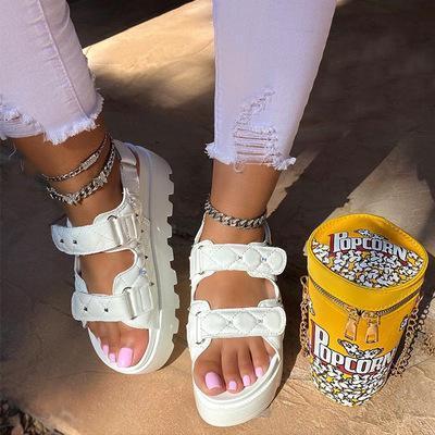 Peop Toe Buckle Platform Sandals