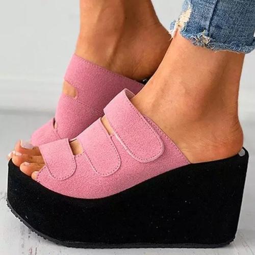 Fashion Velcro Peep Toe Wedge Sandals