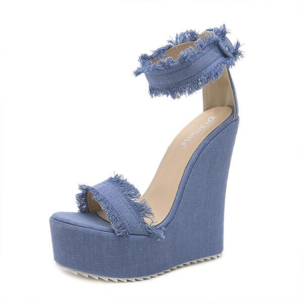 Women's Canvas Wedge Heel Sandals Pumps Wedges Peep Toe Round Toe With Buckle Solid Color shoes