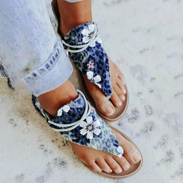 Women's Casual Small Orchid Zippered Flat Sandals