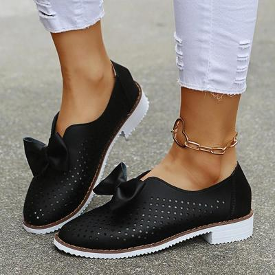 Women Casual Elegant Simple Pu Bowknot Hollow-out Flat Loafers