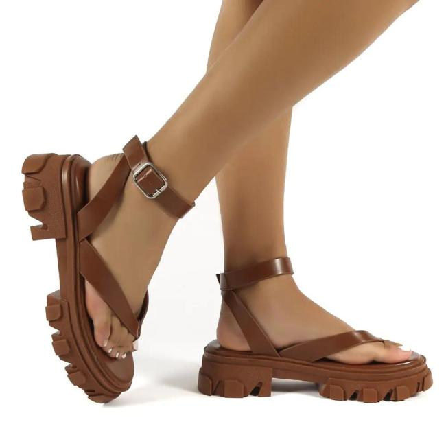 Women's Pu Chunky Sole Ankle Wrap Thong Strap Sandals