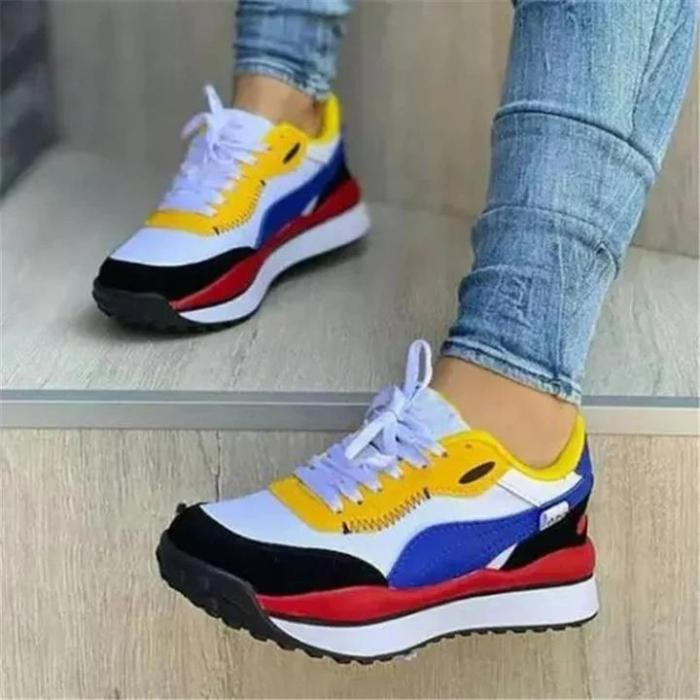 Casual Daily Wear Low-Top Contrast Color Lace-Up Fastening Walking Shoes