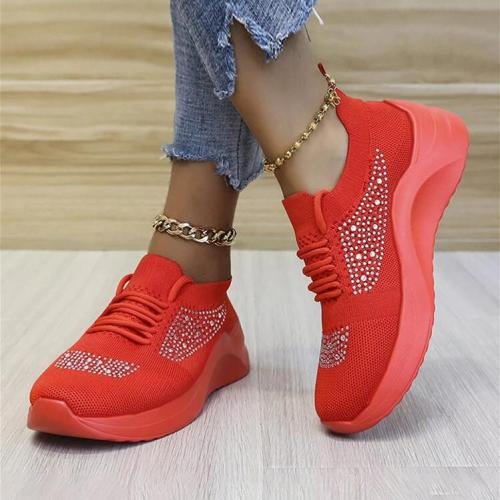 Plus Size Women Casual Breathable Mesh Rhinestone Lace Up White Wedges Sneakers