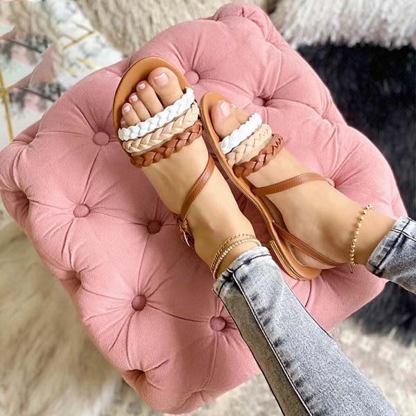 Women's Fashionably Woven Flat Sandals