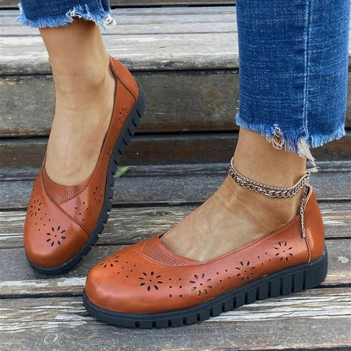 Women Solid Color Flowers Pattern Hollow Out Slip On Flats