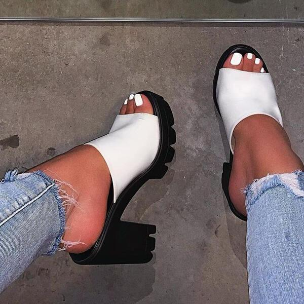Chunky Heel Sandals Pumps Peep Toe Slippers Heels Round Toe With Solid Color shoes