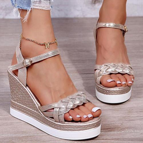 Wedge Heel Sandals Platform Wedges Peep Toe Heels With Buckle Braided Strap Solid Color shoes
