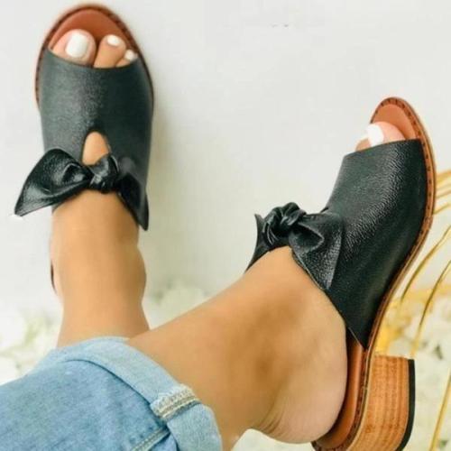 Women Fashion Low Heel Bow Slippers