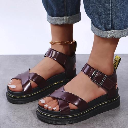 Women Casual Simple Outdoor Pu Cross-strap Adjusting Buckle Platform Sandals