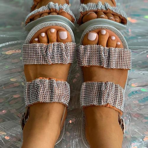 Women Elegant Fashion Pu Cross-strap Adjusting Buckle Flat Sandals