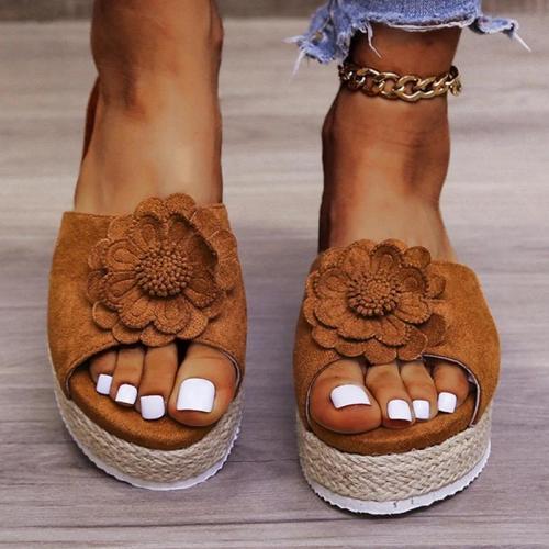 Women Casual Daily Pu Applique Woven Platform Sandals