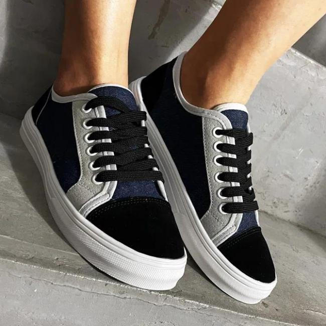 Canvas Flat Heel Sneakers