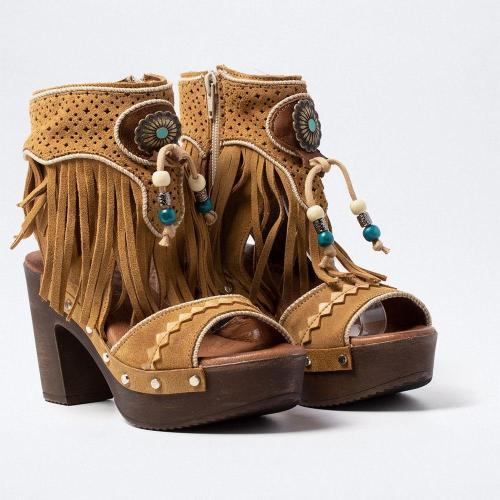 Vintage Peop Toe Chunky Sandals