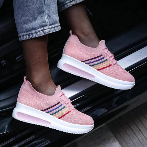 Women Casual Fashion Flyknit Fabric Color-Blocking Lace-up Platform Sneakers