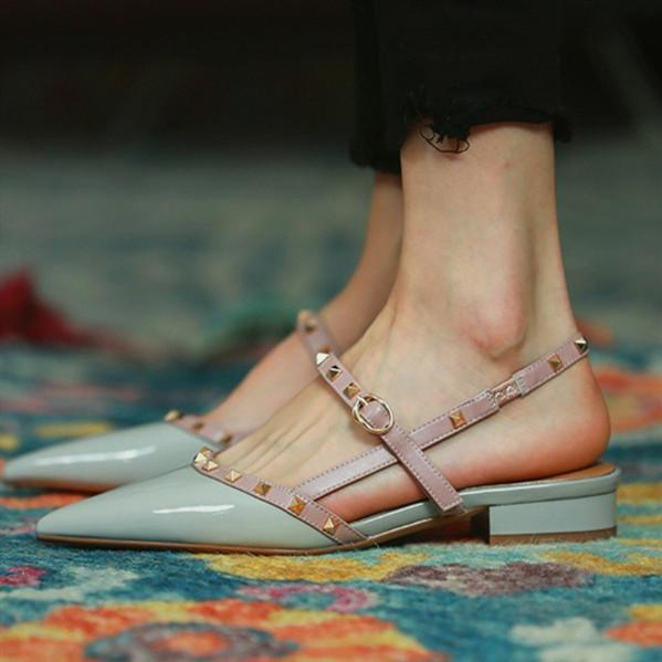 Pointed-toe Solid Color Splicing Studded Buckle Flat Sandals