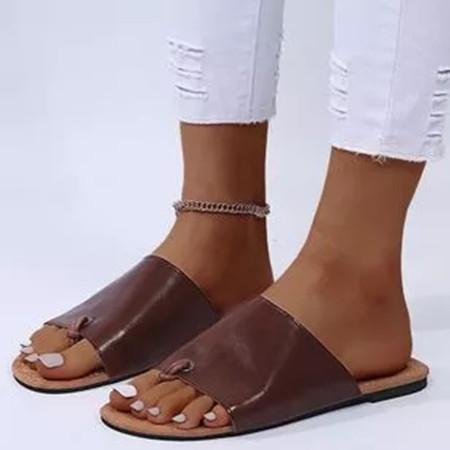 Women's Round Toe Flip-Flops Flat Heel Slippers