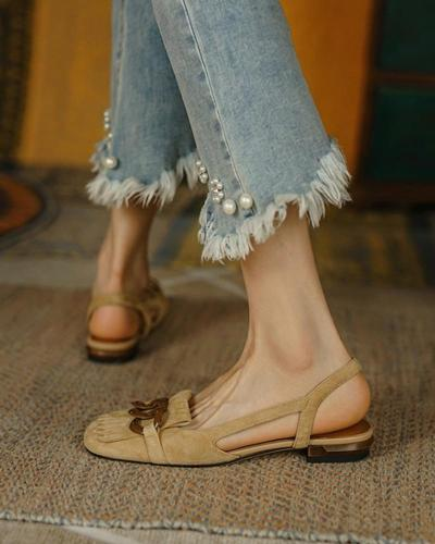 Square-toe Solid Color Splicing Tassel Chain Suede Leather Flat Shoes