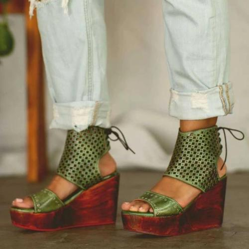 Women's Retro Wedge Lace-Up Clogs Sandals