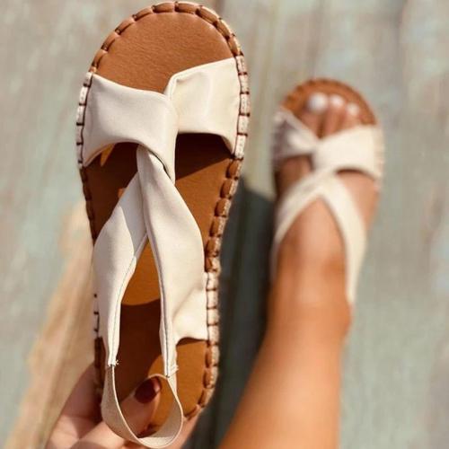 Women Elegant Simple Pu Cross-strap Elastic Band Slip On Flat Sandals