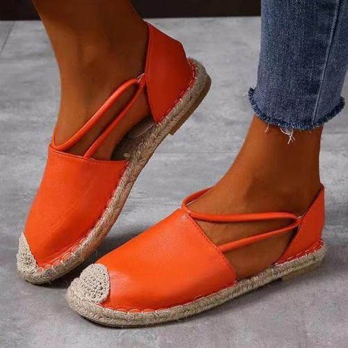 Women Casual Daily Pu Woven Pure Color Flat Sandals