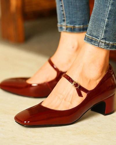 Square Toe Heeled Mary Janes Sandals