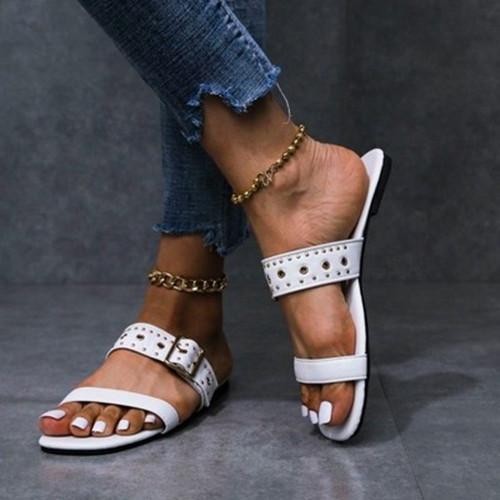 Rivet Buckle Flat Heel Sandals
