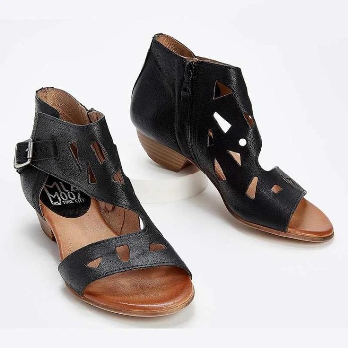 Women's Hollow Side Zipper Flat Sandals