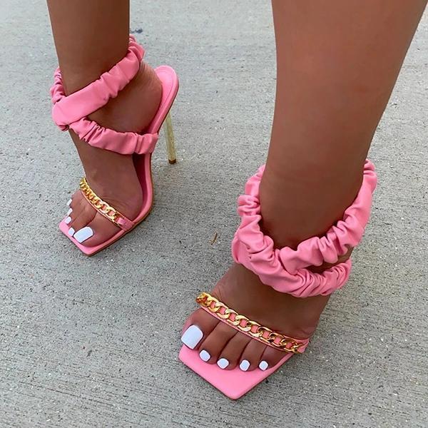 Fashion Straps Pu Square Toe Heels