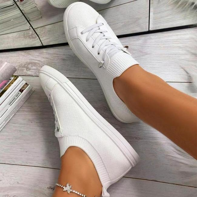 Casual Flat Heel Lace-up Knitted Sneakers