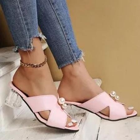 Women's Imitation Pearl Round Toe Heels Chunky Heel Slippers