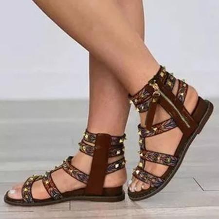 Women's Zipper Flats Flat Heel Sandals