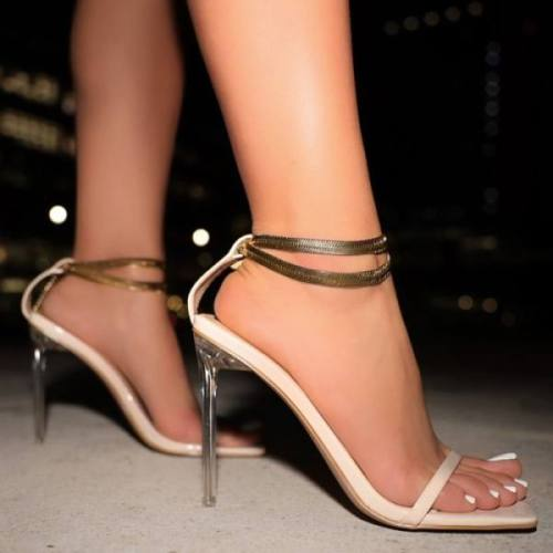 Womens Color Matching Stiletto Simple Sandals