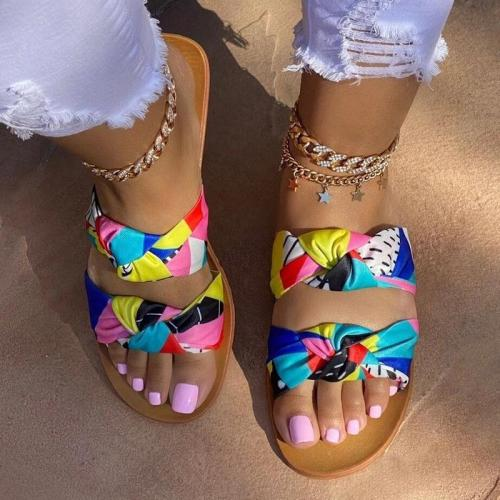 Women Casual Fashion Cloth Color-Blocking Bowknot Flat Sandals Slippers