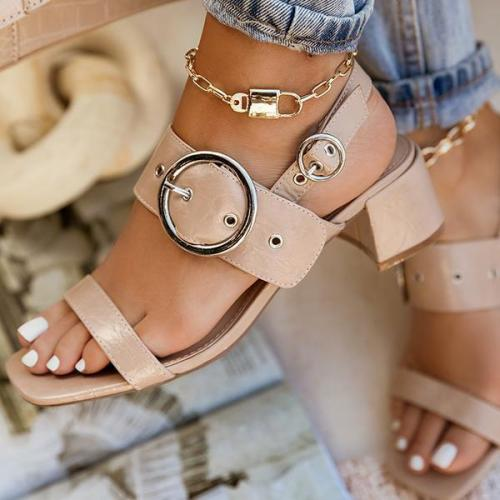 Around-The-Ankle Adjustable Buckle Closure Sandals
