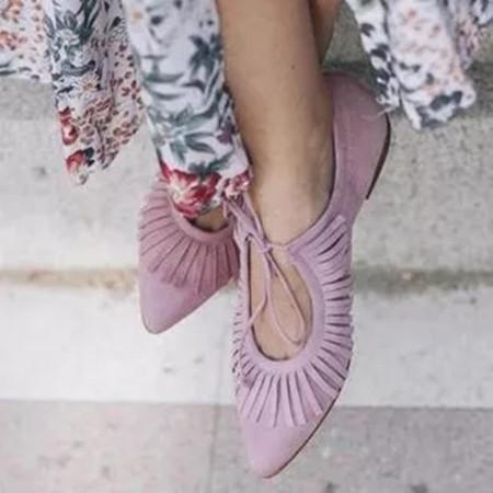 Women's Tassel Pointed Toe Flat Heel Sandals