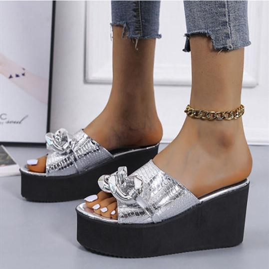 Women's Fashion Chain Platform Slippers