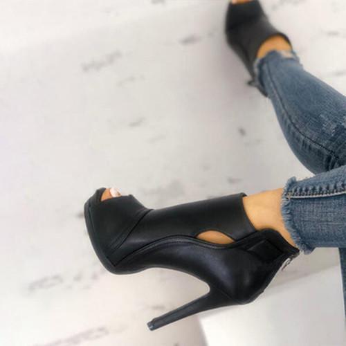 Chunky Heel Peop Toe Sandals