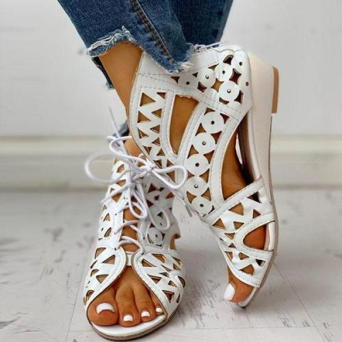 Women's Lace-up Hollow Wedge Sandals