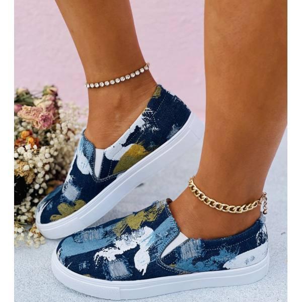 Female Graffiti Denim Flat Loafers