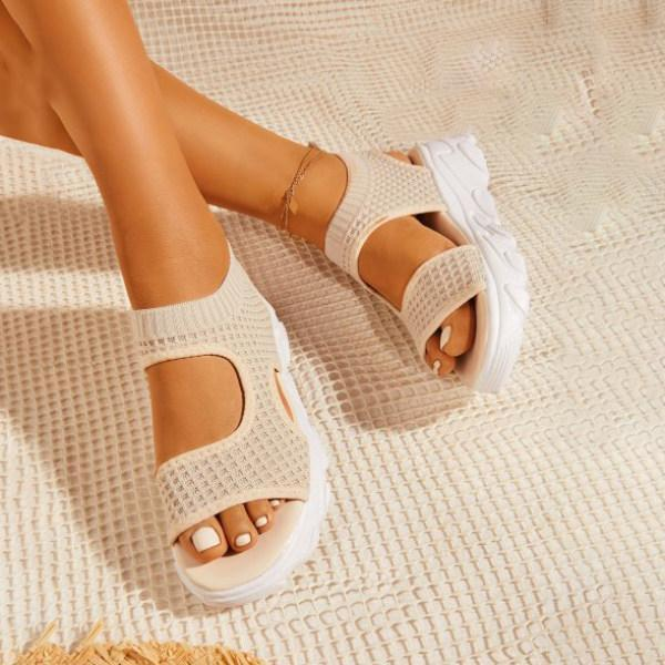 Thick Sole Double Bands Mesh Sock Sandals