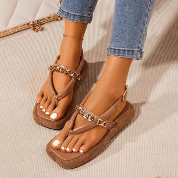 Padded Chain Strap Suede Side Boating Sandals