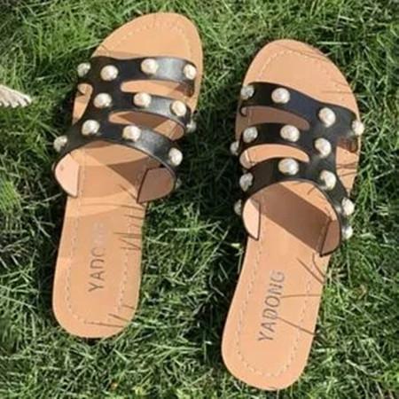 Women's Pearl Flats Flat Heel Slippers