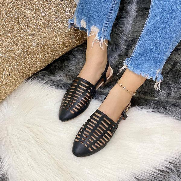 Women's Casual Hollow Buckle Flat Sandals